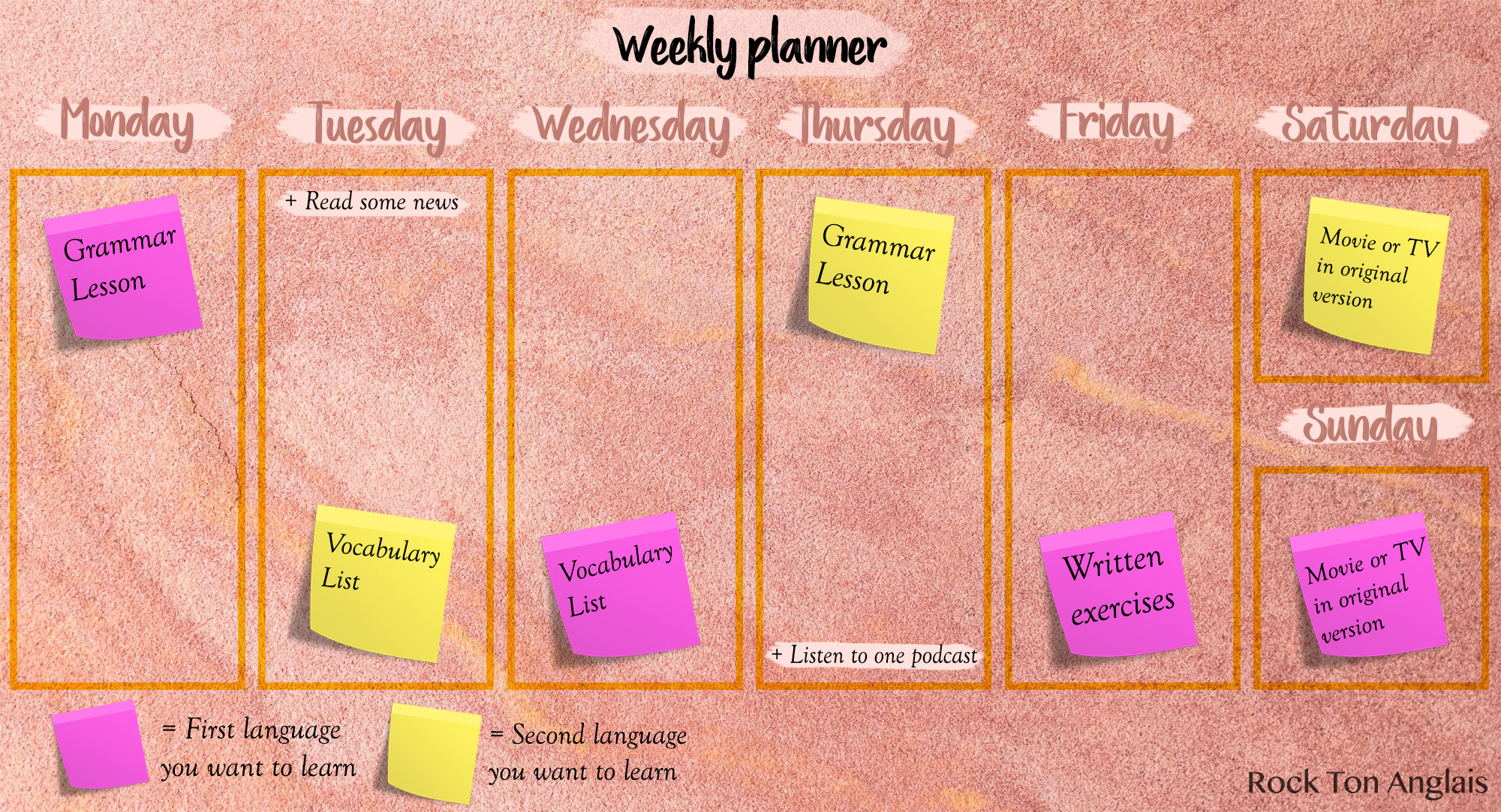 Weekly planner to learn two languages at the same time
